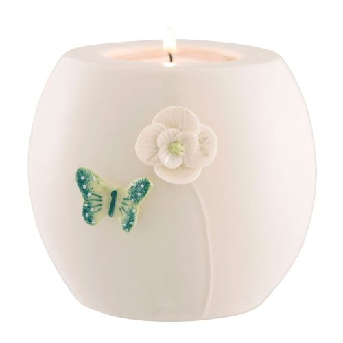 Belleek Living Jade Butterfly Votive
